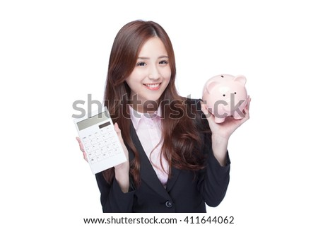 smile young business woman hold calculator and piggy bank at white background, business concept, asian beauty
