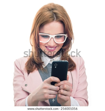 Smile young woman talking on mobile phone, isolated on white. Trendy girl using smartphone, studio shot - stock photo