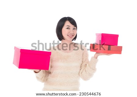 Smile young woman with gift boxes - stock photo