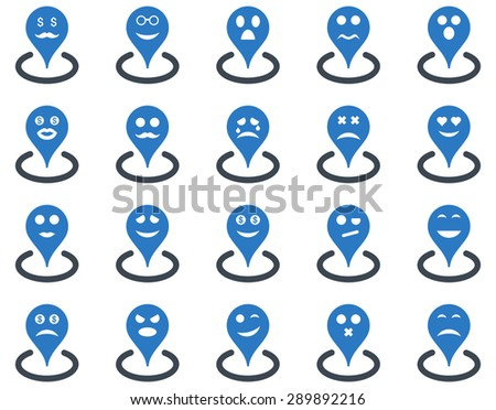 Smiled location icons. Glyph set style: bicolor flat images, smooth blue symbols, isolated on a white background.