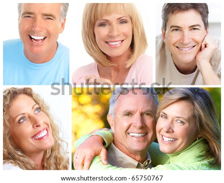 Smiles and teeth of beautiful people - stock photo