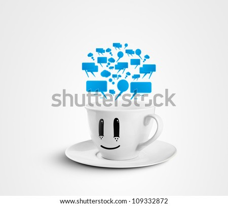 smiles mug with speech bubbles on a white background