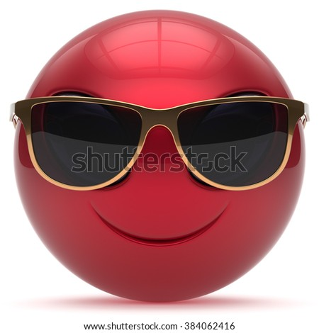 Smiley alien face cartoon cute sunglasses head emoticon monster ball red golden avatar. Cheerful funny smile invader person character toy laughing eyes joy icon concept. 3d render isolated - stock photo