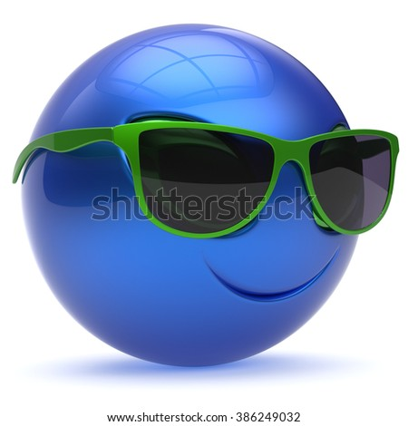 Smiley alien face sunglasses cartoon cute head emoticon monster ball blue green avatar. Cheerful funny smile invader person character toy laughing eyes joy icon concept. 3d render isolated