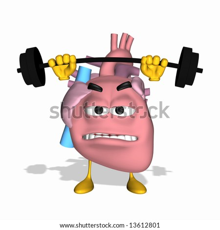 Smiley Aorta - Exercise Your Heart Smiley heart lifting weights - stock photo