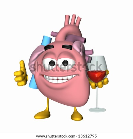 Smiley Aorta - Glass of Wine Smiley heart displaying the thumbs up sign and holding a glass of red wine. - stock photo