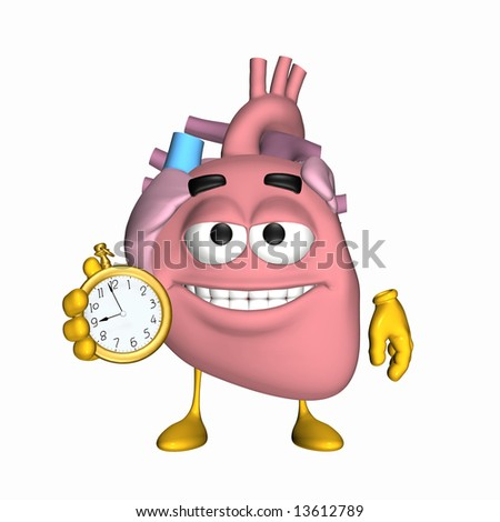 Smiley Aorta - It's Time Smiley heart displaying a clock to remind you of something. - stock photo
