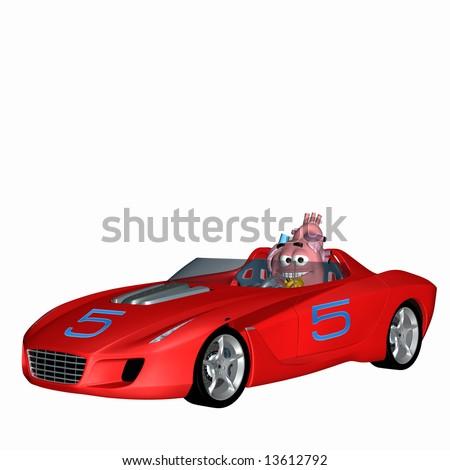 Smiley Aorta - Racing Heart Smiley heart racing a sports car. - stock photo