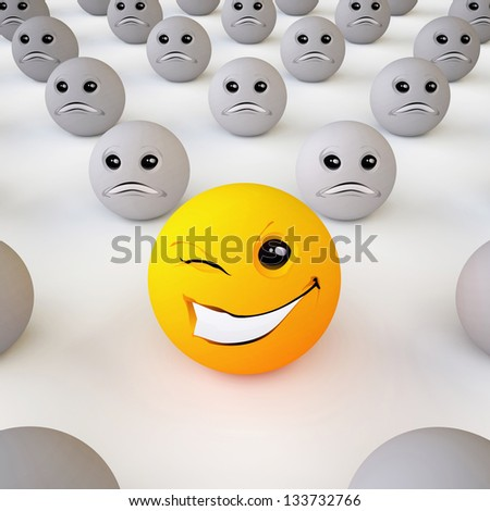 Smiley Ball/ The Three-dimensional Smiley Ball in Optimistic Mood in an Environment of Pessimists (On White Background) - stock photo