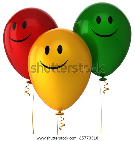Smiley balloons decoration smiling face friendship happy happiness character icon. Joyful positive emotion funny emoticon avatar concept. Detailed 3d render. Isolated on white background - stock photo