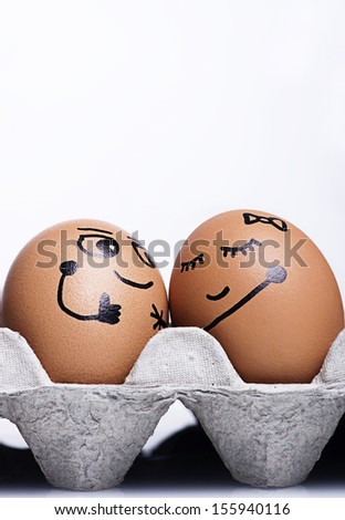 Smiley Expression style with egg character  - stock photo