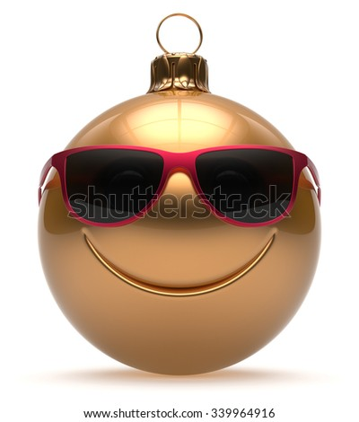 Smiley face Christmas ball emoticon Happy New Year's Eve bauble cartoon cute decoration gold. Merry Xmas funny glasses smile person character toy laughing joyful adornment souvenir concept. 3d render - stock photo