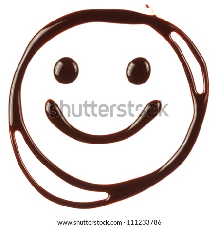 Smiley face made of chocolate syrup is isolated on a white background - stock photo