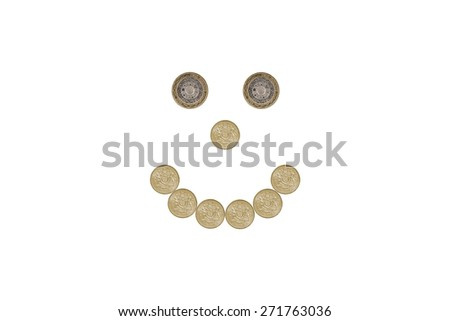 smiley face made out of one pound coins - stock photo