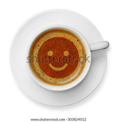 Smiley face on coffee - stock photo