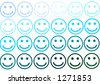 Smiley face rows in blue color variation - stock vector