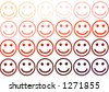 Smiley face rows in  red color variation - stock vector