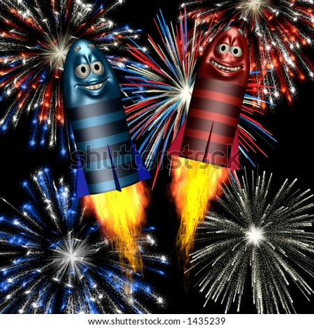 Smiley Fireworks Rockets shooting off with fireworks exploding behind - stock photo