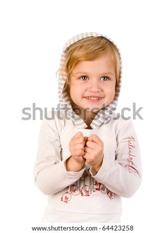 Smiley happy little girl on white background - stock photo