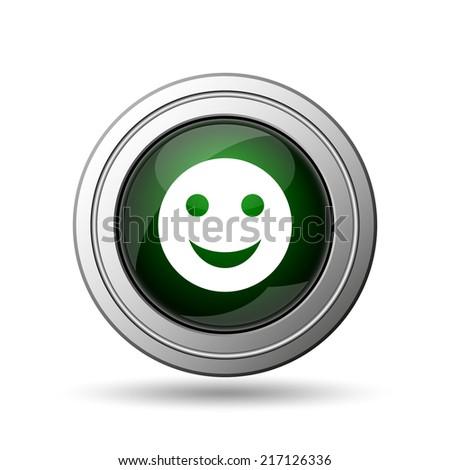 Smiley icon. Internet button on white background.  - stock photo