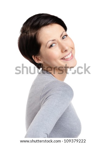 Smiley joyful woman, isolated on white - stock photo