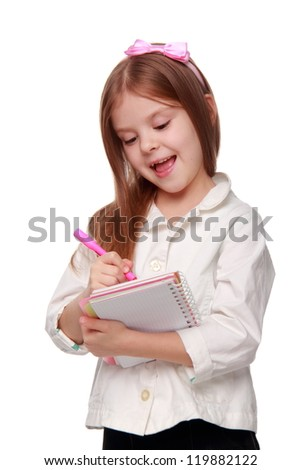 Smiley little girl in modern white jacket with copy-book on Education theme