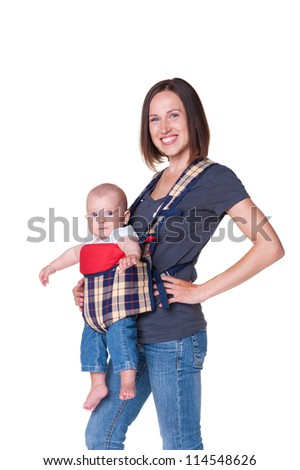 smiley mother holding her son in the sling. isolated on white background - stock photo