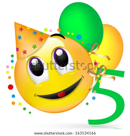 smiley with balloons, having a party, The fifth birthday - stock photo