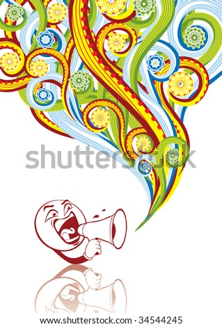 Smiley with megaphone in abstract collage. Format A4. See this illustration in vector in my portfolio. - stock photo