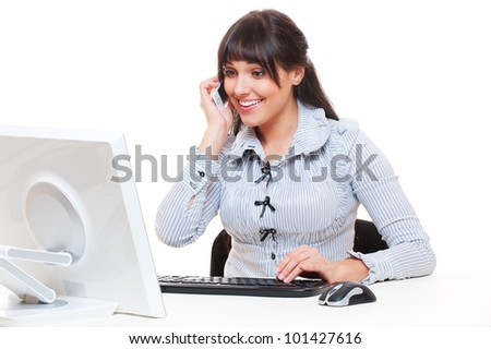 smiley woman in office talking on the phone isolated on white - stock photo