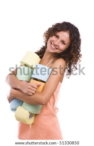 Smiley woman with roll of colored toilet paper. Isolated over white background. - stock photo