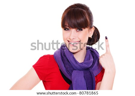 smiley young woman showing number one. isolated on white background - stock photo