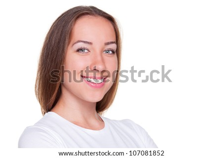 smiley young woman. studio photo with copyspace for text