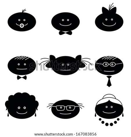 Smilies, set of black and white family characters. Grandmother, grandfather, mother, father, children