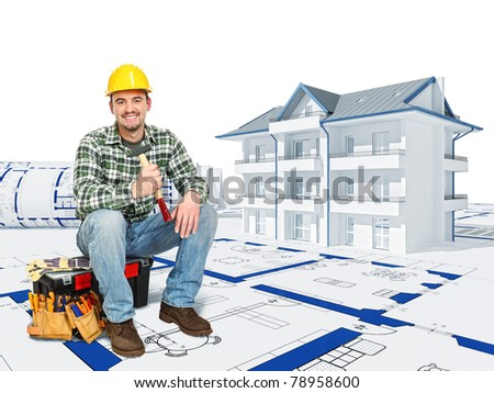 smilinf manual worker sit on toolbox