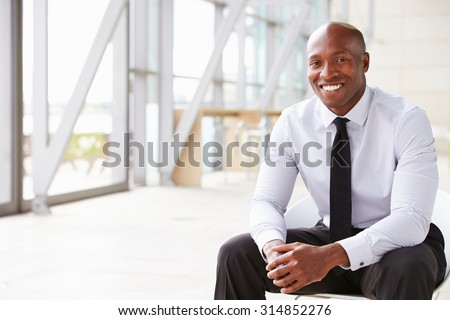 Smiling African American businessman, horizontal portrait - stock photo