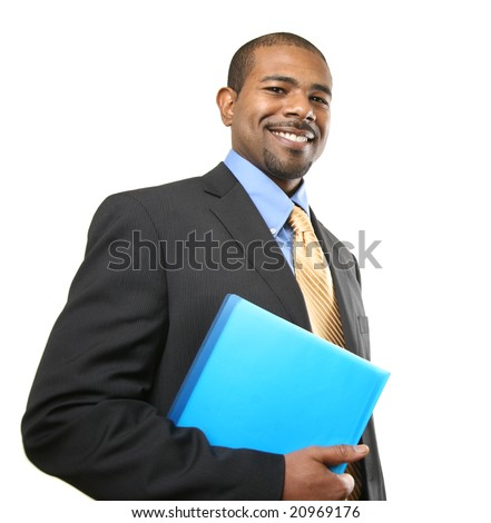 Smiling African American businessman isolated over white background - stock photo