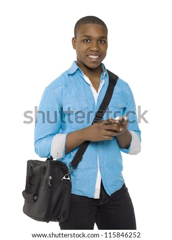 Smiling african american man holding a cellphone - stock photo