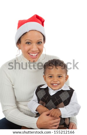 Smiling African American Mom and Boy Closeup Portrait on White Background Wearing Santa Hat - stock photo
