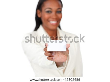 Smiling afro-american businesswoman holding a white card against a white background
