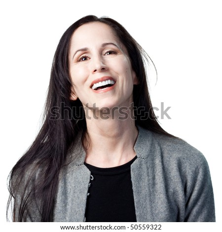 Smiling and laughing attractive older lady. Isolated image