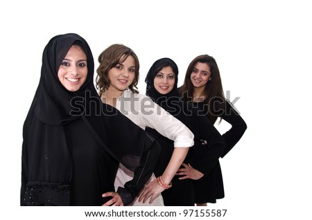 Smiling Arab females - stock photo
