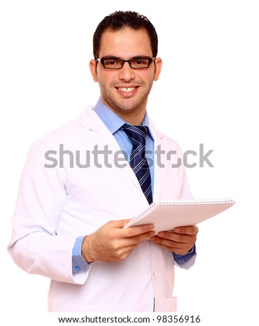 Smiling Arabian  doctor isolated on white - stock photo