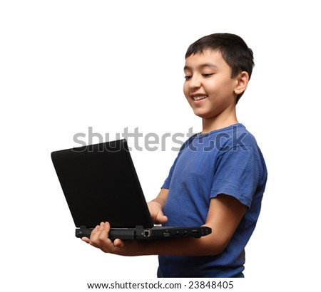 smiling asian boy with laptop isolated on white - stock photo
