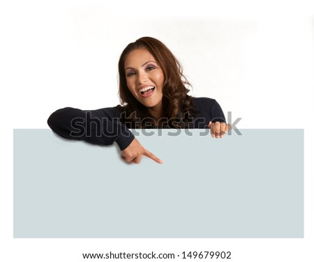 Smiling Asian Female Holding a blank Sign  Isolated on white background