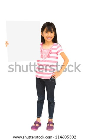 Smiling asian little girl holding blank sign, isolated on white with clipping path - stock photo