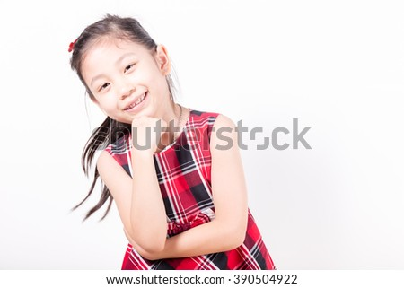 smiling asian little girls of happy on white background isolated - stock photo