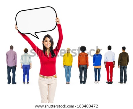 Smiling Asian Woman Holding Speech Bubble With Group of Multi-Ethnic People