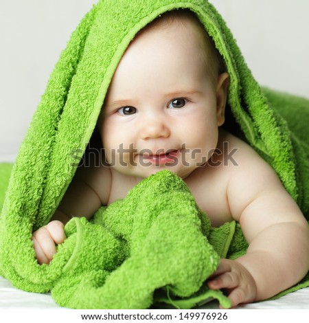 Smiling baby, cute face - stock photo