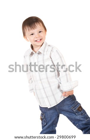 smiling baby in shirt and jeans - stock photo